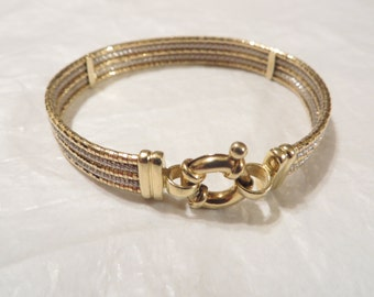 Gorgeous 14k Yellow / White Solid Gold Bangle