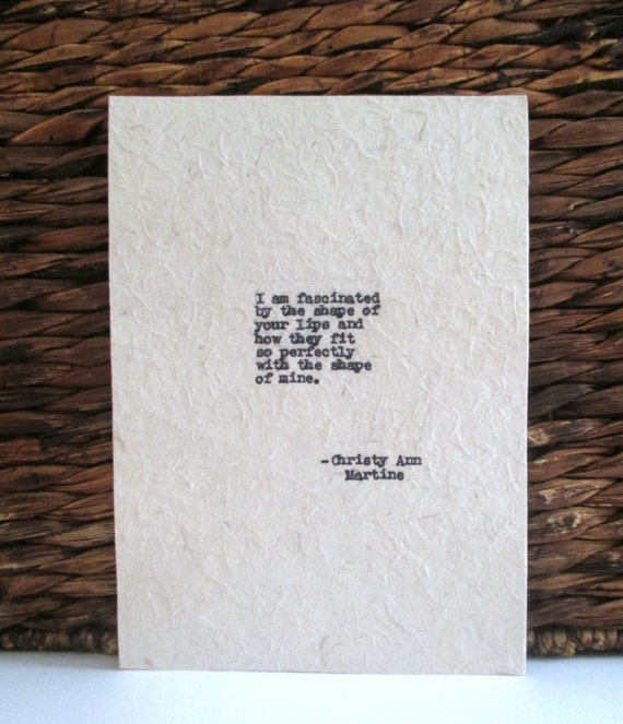 Boyfriend Anniversary Gift - Love Quote Hand Typed by Writer with Antique Typewriter - Christmas Gifts for Boyfriend