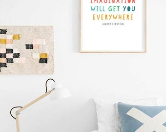 Albert Einstein Quote Poster 'Imagination Will Get You Everywhere' - Printable Typography Office Decor / Nursery Wall Art - Instant Download