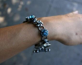 Sterling Silver Bracelet, Rhinestones, Women's Bracelet