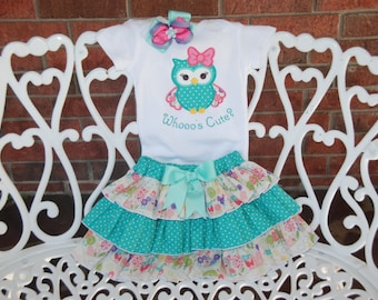 Adorable Owl Outfit! Baby/Toddler/Girls Ruffle Skirt with Owl Appliqued Bodysuit and Bow! Who's cute??/Owl who's cute outfit