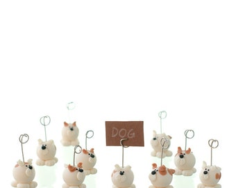10 Handmade Cold Porcelain Dog Place Card Holders