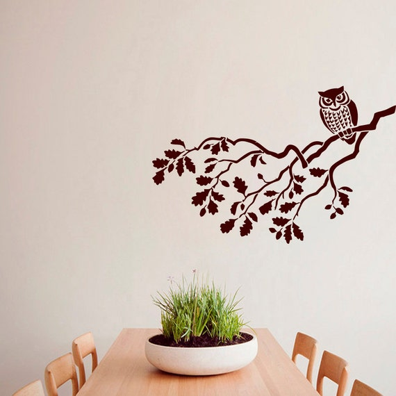 Wall decals owl decal bird tree branch vinyl sticker by for Bird and owl tree wall mural set