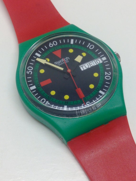 Vintage swatch watch emerald diver gg703 1986 red guard - Swatch dive watch ...