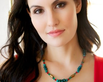Colorful Tigereye, Azurite, and Coral Necklace with Swarovski Crystals