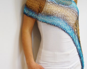 Coverup Knitting PATTERN- Cornwall Wrap/ Asymmetrical Loose Knit Summer Poncho/Boho Beach Cover Up/ Hand Knit Cape