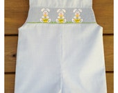Easter Bunny Smocked Boy's Jon Jon ~ Light Blue Gingham