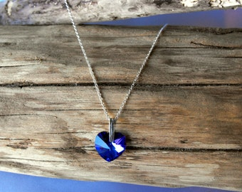 Sterling Silver Necklace with a Swarovski Heart (BD-886)
