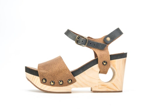 Brown Leather Platform Sandals / Women High heels Shoes / Grey Wood Heel Clogs / Ankle Strap Shoes / Every Day Designers Shoes - Genki