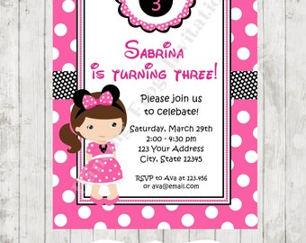 Brunette, Blonde or Red Head Minnie Birthday Invitation - Custom Printed Minnie Birthday Invitation by Dancing Frog Invitations