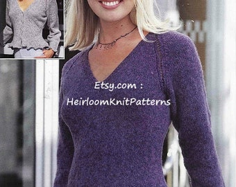 Ladies Cardigan and Sweater Vintage Knitting Pattern 32-42'' 81-107cm DK 8ply Woman's Cardigan Jumper Pullover Instant Download PDF - 620