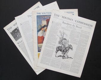 1920s Vintage Packet of 4 Original American Children's Newspapers, The Youth's Companion - Kids Room Decor, Original Newspaper Art