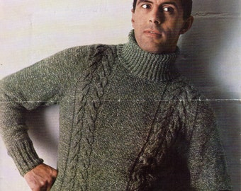 Mens Knitting Pattern Mens Cable Polo Neck Sweater Mens Sweater Polo Neck Jumper  38-42 inch DK Mens Knitting Patterns PDF instant download