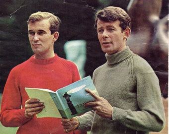 Mens Knitting Pattern 1950s Mens Sweaters Mens Crew Neck Sweater Mens Polo Neck Sweater Mens Jumpers 34-44 inch DK PDF instant download