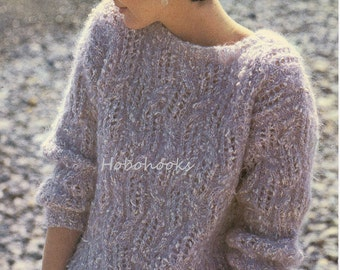 Ladies lacy  chunky  mohair sweater - 30 to 38 inch bust - chunky mohair - knitting pattern - pdf instant download