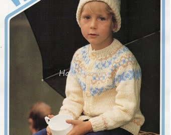 Childrens fair isle cardigan and hat - 22 to 32inch chest - DK Childrens Knitting Pattern - PDF instant download