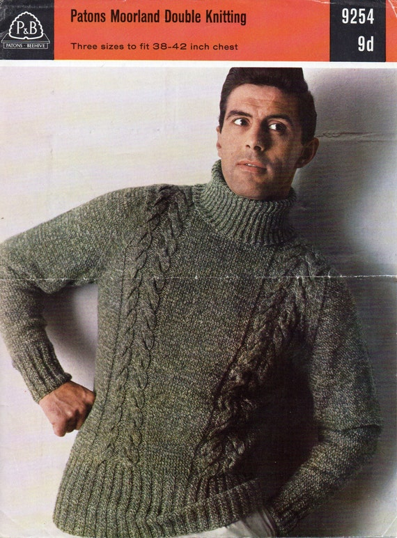 Men s Hat Knitting Pattern Dk : Mens Knitting Pattern Mens Cable Polo Neck Sweater Mens