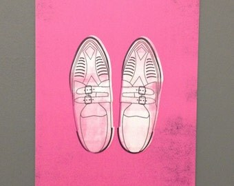 Duckie's Creepers Pretty in Pink 1980s Movie Illustration A6 Postcard Print