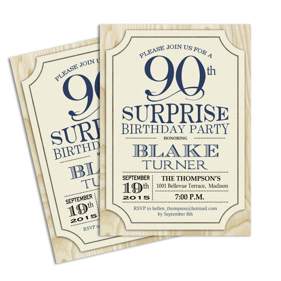 Surprise 90th Birthday Invitation / Any Age / Rustic Invite