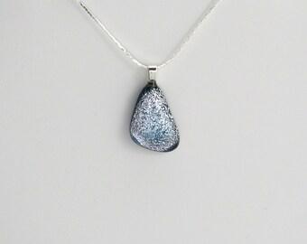 Frozen Raindrop Dichroic Glass Pendant On Silver Chain (Item #154)