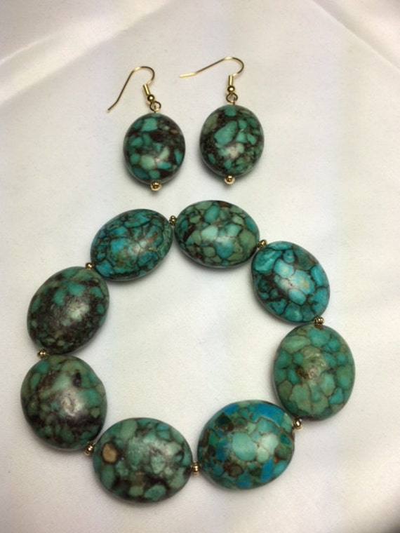 Mosaic Turquoise Blue Green Bracelet And Earring