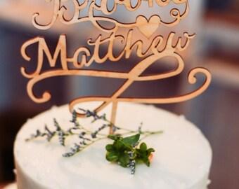 Custom Wedding Cake Topper -Includes Digital Proof - Laser Cut Wood