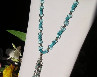 Turquoise Glass and Silver Beaded Necklace with Crystal Dangles