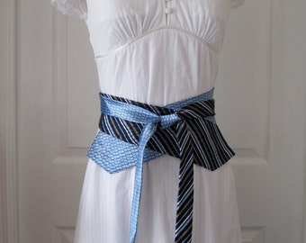 Shiny Baby Blue, Taupe, Navy & White Stripes! Womens Obi Belt Upcycled from Men's Neckties