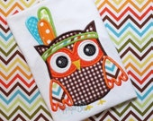Owl with Feather Headdress Digital Applique Design - Thanksgiving - Holiday - Indian- Monogram - Machine Embroidery - Download