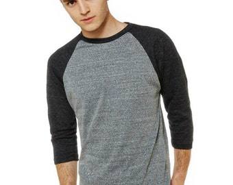 Men's Fitted Charcoal Gray/Heather Gray 3/4 Sleeve Baseball Tee