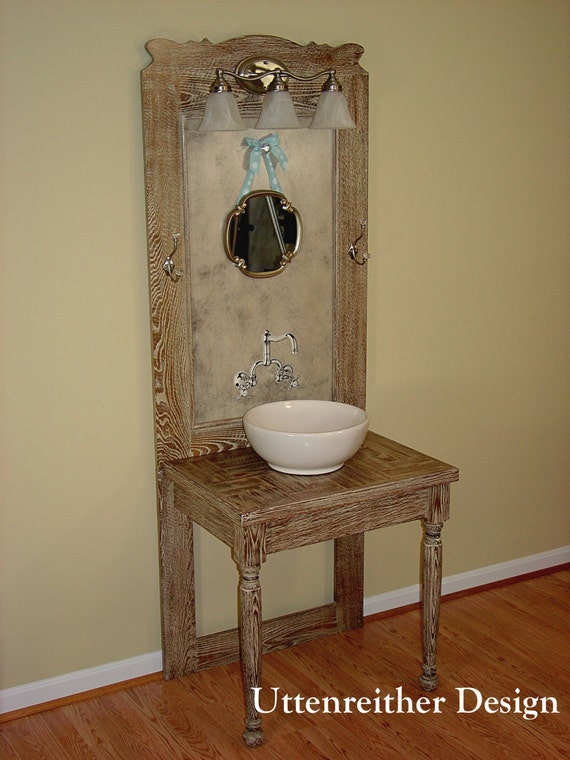 Simple BATHROOM Sink Cabinet In Blue Paint With Warm Stained Wood Counter And Mirror, Topiary And Antique Wood Medicine Cabinet To The Side Good Dropin Sink Idea For Primitive Or Colonial Home Wood Counter And Backsplash