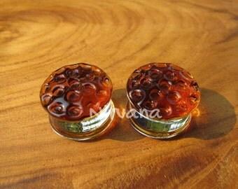 """Amber Honey Comb Plugs 2g 0g 00g 7/16"""" 1/2"""" 9/16"""" 5/8"""" 3/4"""" 1""""  6 mm 8 mm 9.5 mm 10 mm 12 mm 14 mm 16 mm 18 mm 25 mm"""