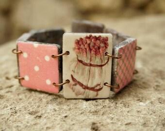 Vegan bracelet, Nature inspired, Food jewelry, Nature bracelet, Vegan jewelry, Vegetable jewelry, Vegetable bracelet, Vegetarian jewelry
