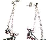 DACHSHUND Silver Earrings  '' Milano  '' precious 3D Dachshund Charm