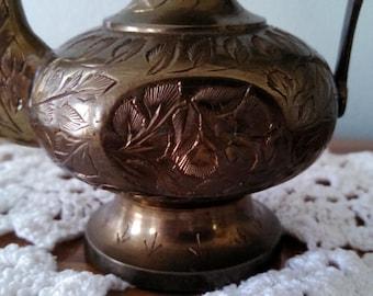 REDUCED PRICE-Persian Tea Pot-Brass Pitcher-India Decor-Vintage Tea Pot-Turkish Decor-Middle East Decor