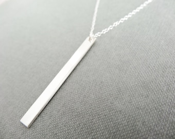Sterling Silver bar necklace, polished silver bar pendant, simple necklace, simpke bar necklace, polished silver necklace, handmade