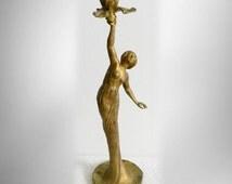French vintage Art Nouveau figural candle holder - gilt bronze