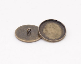 6x Antique Bronze Button Setting Blanks Fits 22mm Cabochon