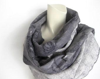 Felted Scarf Wool Mohair Nuno Grey Black White