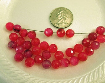 Agate Beads, Hot Pink Agate, 8mm Faceted Round, Hot Pink Agate 8mm, Round 8mm, QTY 12 - gm342