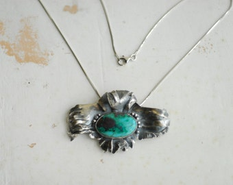 Turquoise Chrysocolla Necklace, Teal Green Jewelry, Sterling Silver Brooch