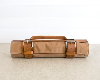 """Camel Tan Waxed Canvas & Hand Dyed Leather // """"waxed knife roll"""" by fullgive in camel"""
