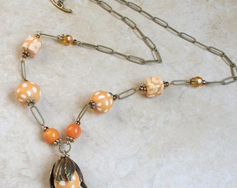 Orange Tulip Necklace