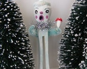 Frozen Folk Art Acorn Wood Clothes Pin Winter Holiday Christmas Ornament
