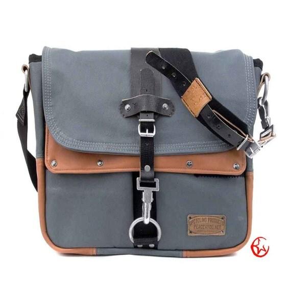 Messenger BagRecycled German Submarine Leatherjacket Crossbody Bag,Unisex Bag, Notebook / Upcycled & Handmade in GERMANY / Model paul-2089
