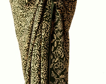 Batik Sarong Beach Sarong Swimwear Womens Clothing Olive Green Sarong Wrap Beach Skirt Bathing Suit CoverUp Handmade Batik Pareo - Gift