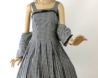 Vintage 50s Sun Dress w Jacket Black & White Check Cotton Full Flirty Skirt Size Small