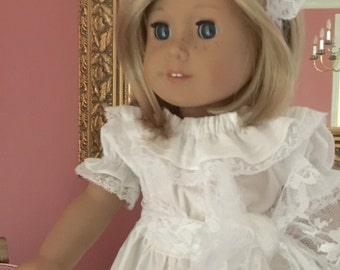 Juvie Moon Designs Matching Vintage Inspired Embellished Fabric 18 inch Doll Heirloom White or Ivory  Long Dress with Lace Sash