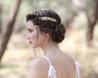 Double Fairy Comb, Grecian Inspired, Hand Made, Gold Leaves Comb, Greek Goddess, Bridal Hair Accessory, Romantic Wedding Comb