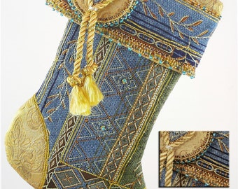 Renaissance Tapestry Christmas Stocking w Tassels